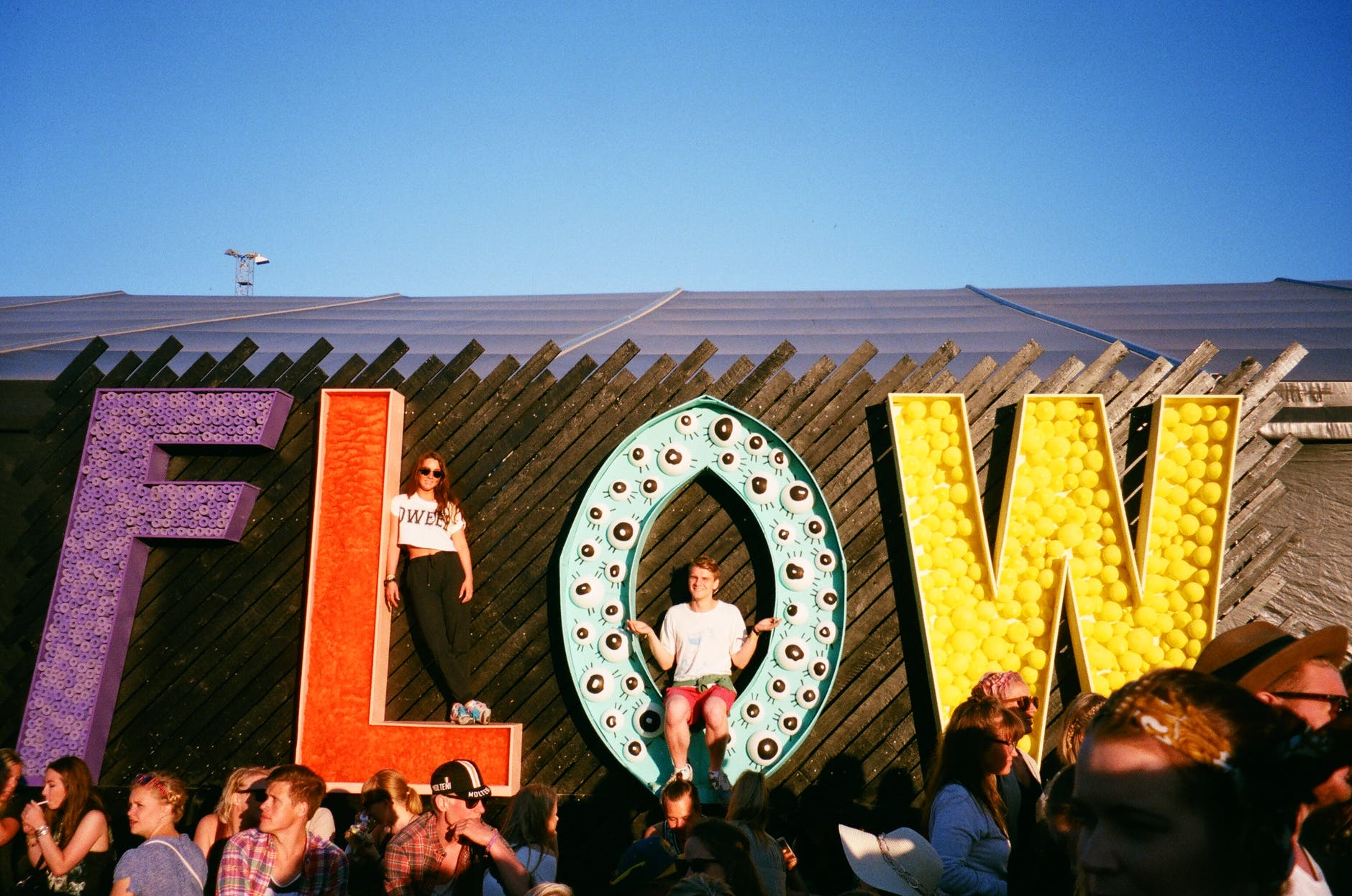giant letters spelling the word flow