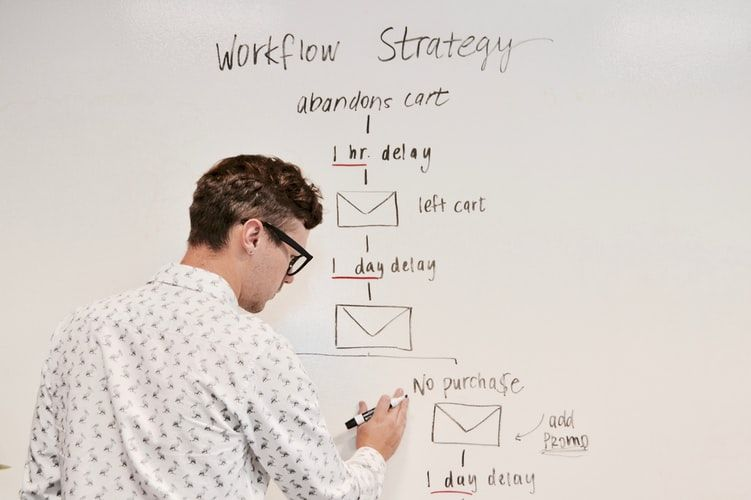 man writing a workflow strategy on a whiteboard