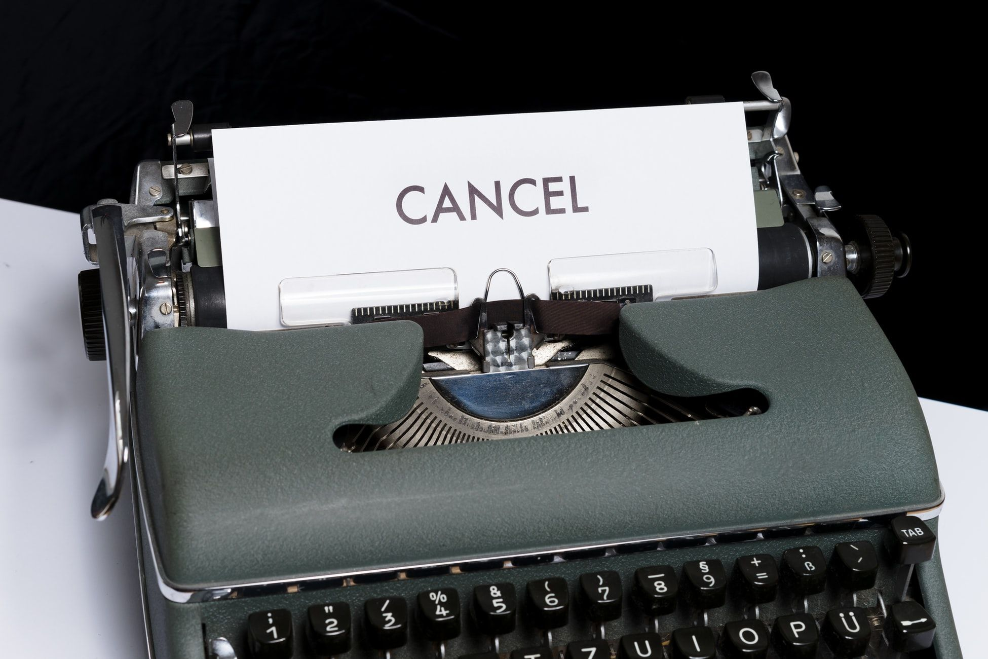 typewriter with a piece of paper in the roller saying Cancel