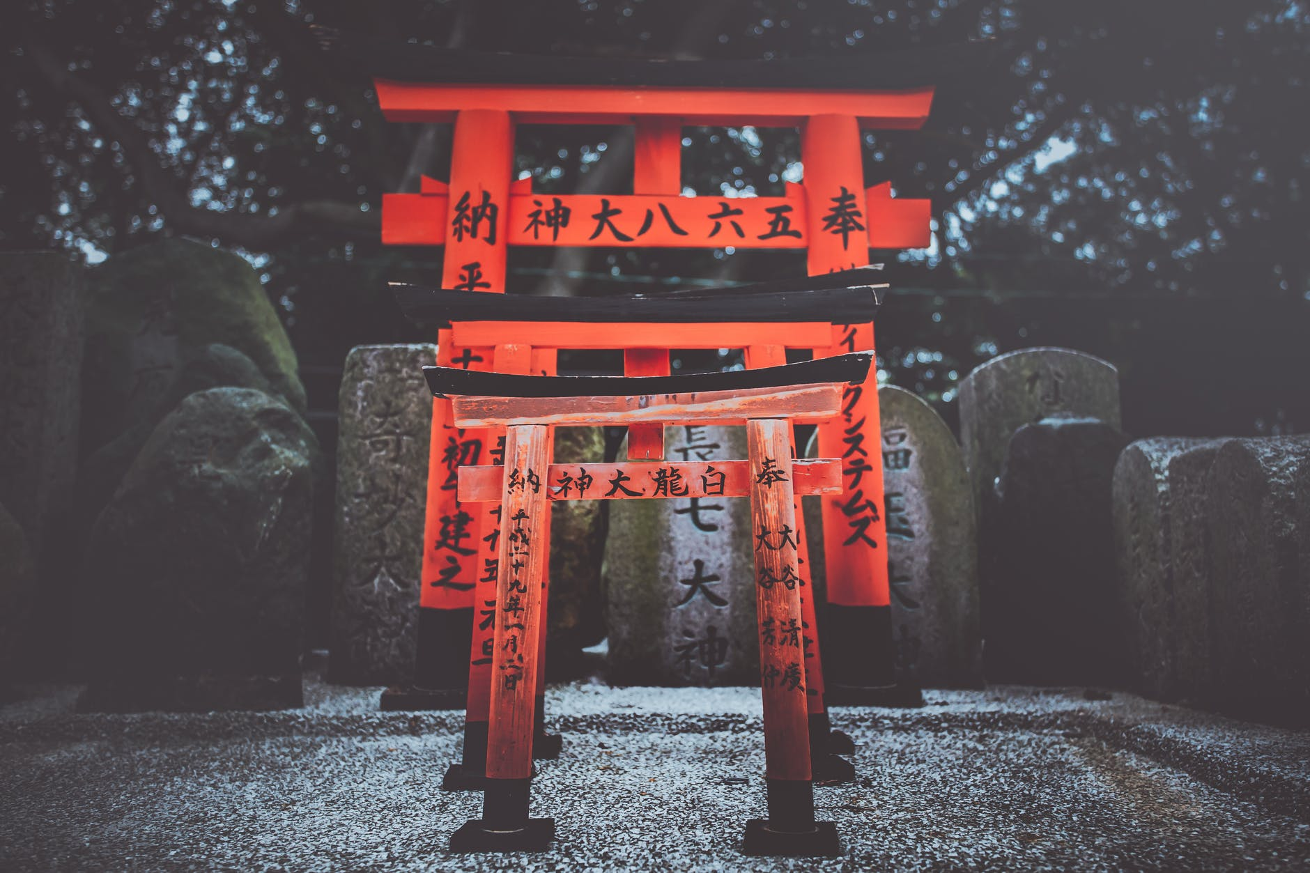 3 red Japanese torii gates with calligraphy painted on them