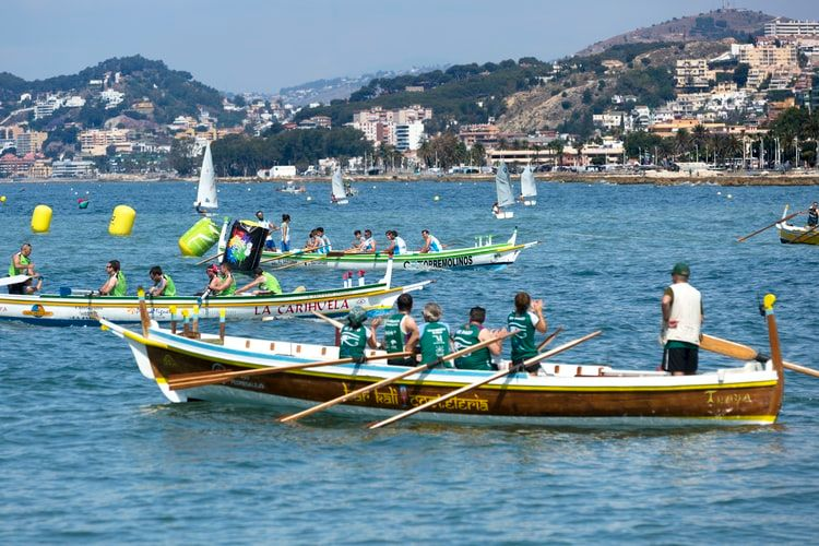 crews in rowing boats